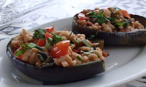 melanzane ripiene con farro_una rasdora single in cucina_reggio emilia